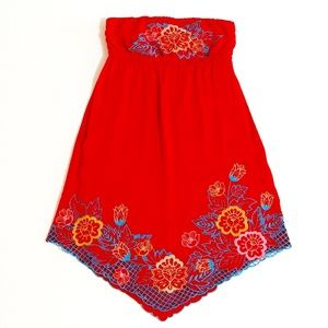 Flying Tomato Embroidered Strapless Dress